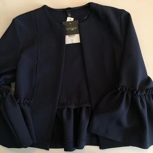 NWT TopShop Open Front Blazer with Trumpet Sleeve